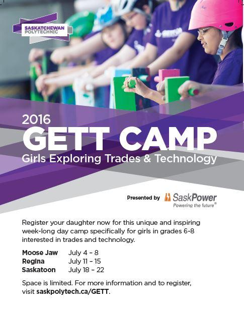 Saskatchewan Polytechnic Moose Jaw Campus' Girls Exploring Trades & Technology Summer Day Camp